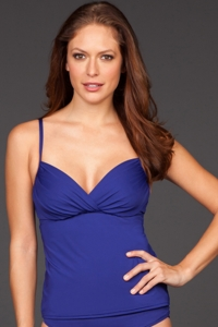 Badgley Mischka Midnight Shirred Underwire Tankini Top