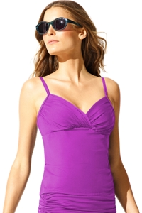 Badgley Mischka Orchid Shirred Underwire Tankini Top