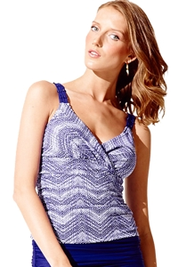 Badgley Mischka Gisele Shirred Tankini Top
