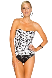 TOGS Falling Flowers Twist Front Bandeau One Piece Swimsuit