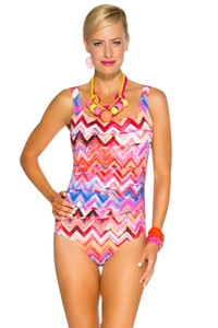 TOGS Zig Zag Squire Neck One Piece Swimsuit
