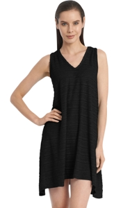 Jordan Taylor Belize Black V-Neck Handkerchief Dress