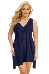 Jordan Taylor Plus Size Belize Navy V-Neck Handkerchief Dress