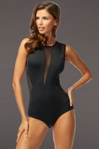Carmen Marc Valvo Black Aloha Sunrise Sleeveless One Piece Swimsuit