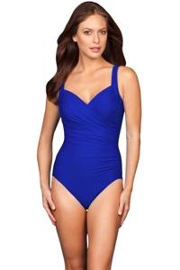 Miraclesuit Electric Blue Long Torso Sanibel Underwire One Piece Swimsuit