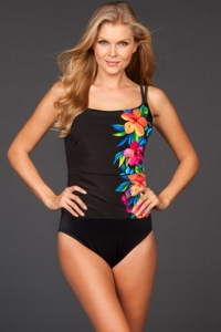 Miraclesuit Aloha Gardens D-Cup Fauxkini One Piece Swimsuit
