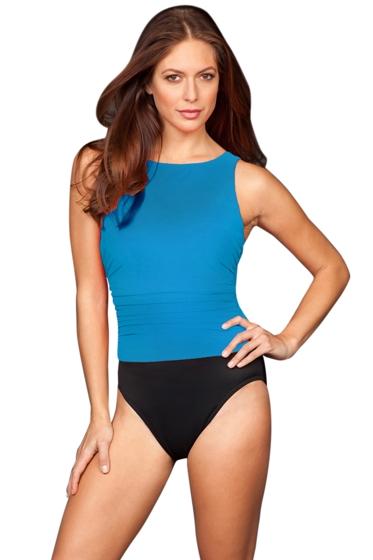 Miraclesuit Copen Blue Colorblock D-Cup Regatta Underwire High Neck Swimsuit