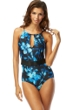 Carmen Marc Valvo Blue Caribbean Breeze Elizabeth High Neck One Piece Swimsuit