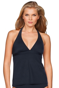 Carmen Marc Valvo Lattice Black Strappy Cross Back Tankini Top