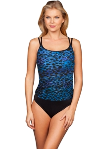 Miraclesuit Blue Purr-Fection Long Torso Fauxkini One Piece Swimsuit
