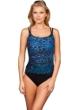 Miraclesuit Blue Purr-Fection Long Torso Fauxkini One Piece Swimsuit