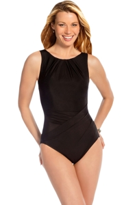 Miraclesuit Black Asbury High Neck Underwire One Piece Swimsuit