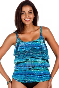 Miraclesuit Night Lights Tiering Up Tankini Top