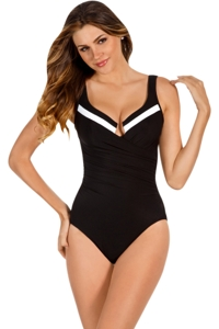 Miraclesuit Black and White Block Party Escape Underwire One Piece Swimsuit