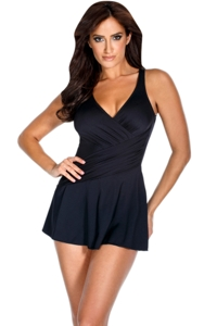 Miraclesuit Black Aurora Surplice Swimdress