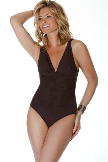 Miraclesuit Black Sonatina Shirred One Piece Swimsuit