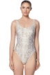 Carmen Marc Valvo Classic Weave Ivory Zipper One Piece Swimsuit