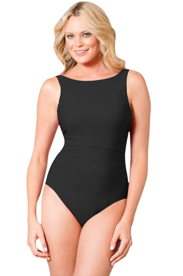 Miraclesuit Black DD-Cup Regatta Underwire High Neck Swimsuit
