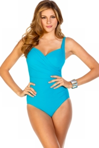 Miraclesuit Turquoise Sanibel D-Cup Underwire One Piece Swimsuit