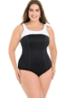Miraclesuit White Colorblock Plus Size Touche Underwire One Piece Swimsuit