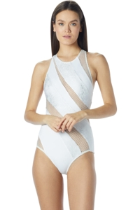 Carmen Marc Valvo Deluxe Zipper Back High Neck One Piece Swimsuit
