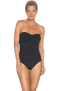 TOGS Black Twist Front One Piece Swimsuit
