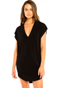 Jordan Taylor Black Cut Out V-Neck Jersey Cover Up Dress