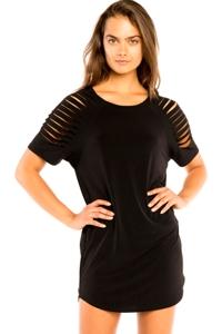 Jordan Taylor Black Cut Out Raglan Sleeve Jersey Cover Up Dress