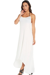 Elif Corbel Ivory Cross Back Maxi Dress
