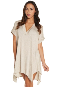 Elif Taupe Corbel V-Neck Shirt Dress