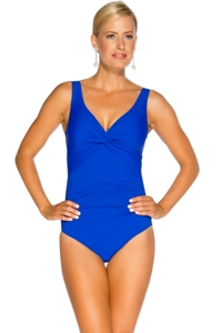 TOGS Cobalt Knot Front One Piece Swimsuit