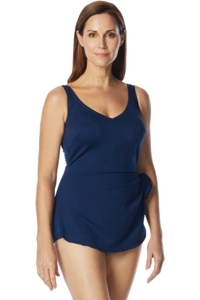 Chlorine Resistant Roxanne D-Cup Navy V-Neck Sarong One Piece Swimsuit