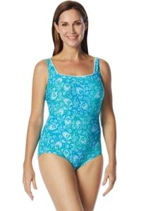 Chlorine Resistant Roxanne DD-Cup Ditsy Batik Square Neck One Piece Swimsuit