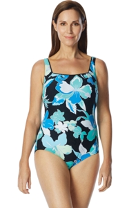 Chlorine Resistant Roxanne D-Cup Garden City Square Neck One Piece Swimsuit