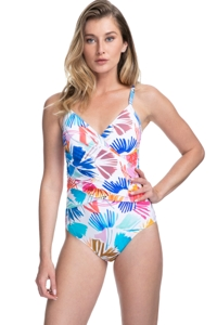 Profile by Gottex Splash V-Neck Lingerie Surplice One Piece Swimsuit