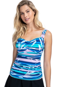 Profile by Gottex Palm Beach Blue D-Cup Scoop Neck Shirred Underwire Tankini Top