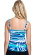 Profile by Gottex Palm Beach Blue E-Cup Scoop Neck Shirred Underwire Tankini Top