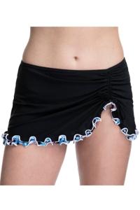 Profile by Gottex Pinwheel Black Side Slit Cinch Swim Skirt