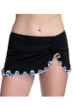 Profile by Gottex Pinwheel Black Side Slit Cinch Swim Skirt