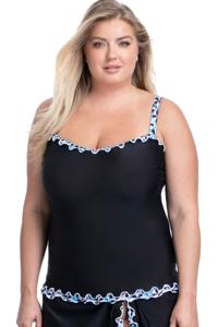 Profile by Gottex Pinwheel Black Plus Size Shirred Underwire Tankini Top