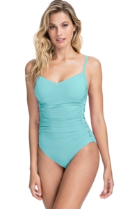 Profile by Gottex Moto Sea Foam C-Cup Lace Up Scoop Neck One Piece Swimsuit