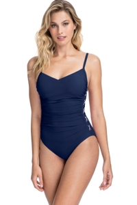 Profile by Gottex Moto Navy and Pink D-Cup Lace Up Scoop Neck One Piece Swimsuit