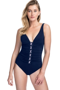 Profile by Gottex Moto Navy and Pink F-Cup Lace Up V-Neck Plunge Shirred One Piece Swimsuit