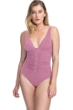 Profile by Gottex Moto Dusk Rose F-Cup Lace Up V-Neck Plunge Shirred One Piece Swimsuit