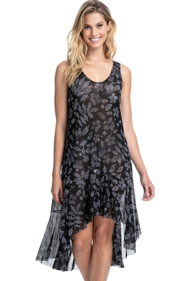 Profile by Gottex Pepita Black and White Round Neck High Low Mesh Dress