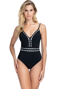Profile by Gottex Eden Black V-Neck One Piece Swimsuit