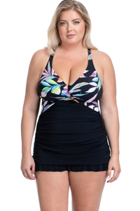 Profile by Gottex Paparazzi Black Plus Size Halter Cross Back Underwire Swimdress