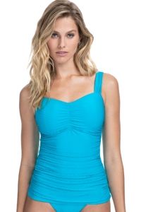 Profile by Gottex Ribbons Azure E-Cup Textured Scoop Neck Shirred Underwire Tankini Top