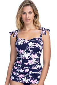Profile by Gottex Sundance Navy and Pink D-Cup Scoop Neck Shirred Underwire Tankini Top