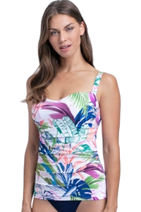 Profile by Gottex Club Tropicana E-Cup Scoop Neck Shirred Underwire Tankini Top